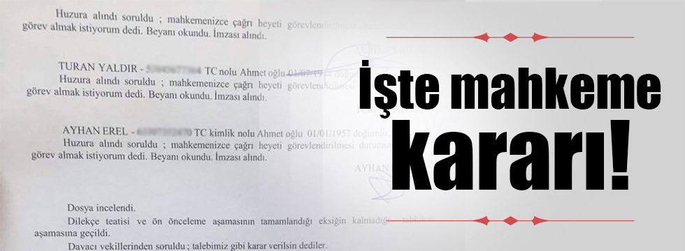 Mahkemenin MHP karar belgesi