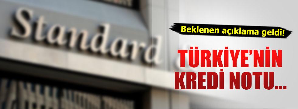 Standard and Poor's Türkiye'nin kredi notunu açıkladı