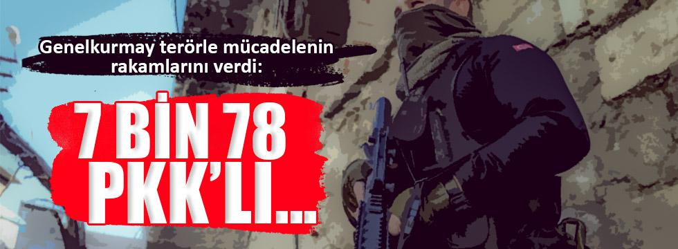 7 bin 78 PKK'lı etkisiz hale getirildi