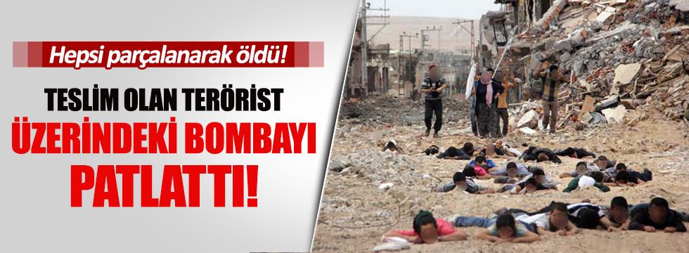 Teslim olan terörist üzerindeki bombayı patlattı