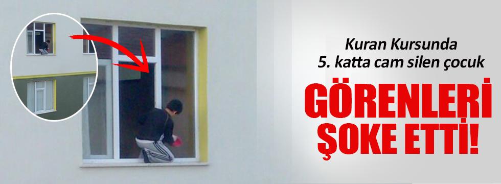 5. katta cam silen çocuk görenleri şok etti
