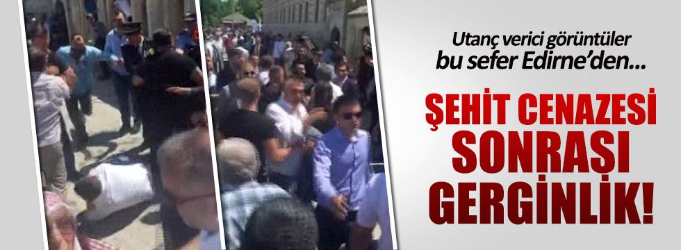 Edirne'deki şehit töreninde gerginlik