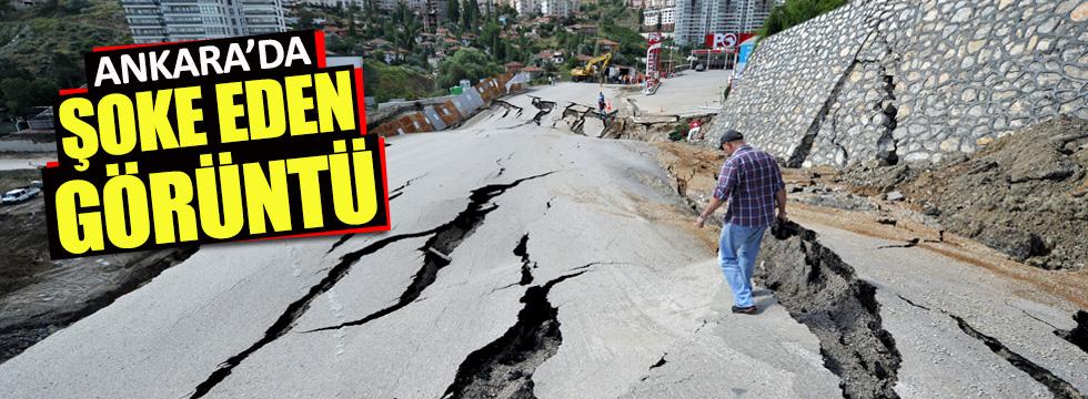 Ankara'da yol çöktü! Cadde trafiğe kapandı