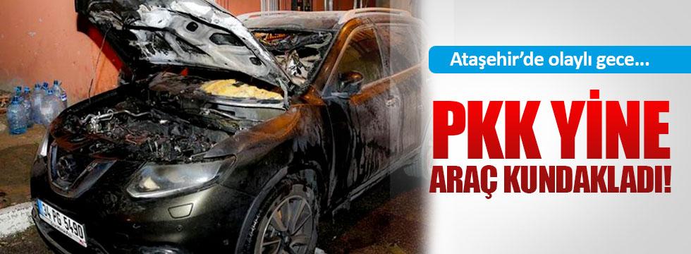 Ataşehir'de olaylı gece, PKK araç kundakladı