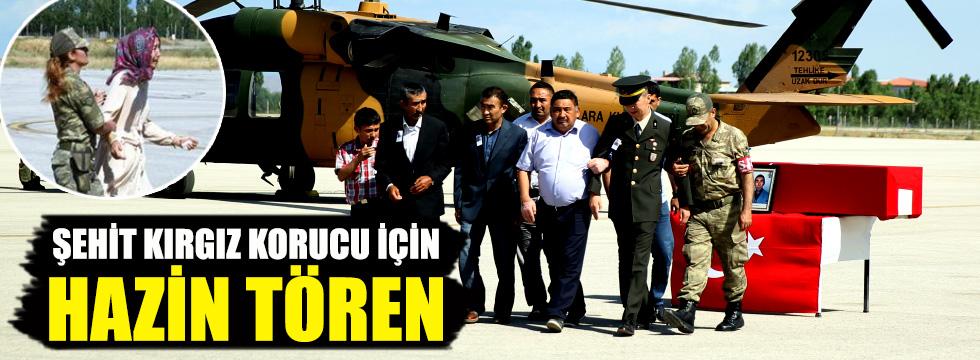 Şehit Kırgız korucu için hazin tören