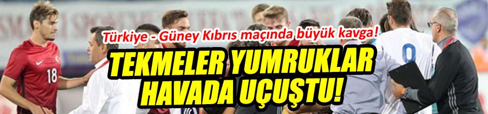 Türkiye - Güney Kıbrıs maçında tekmeler havada uçuştu!