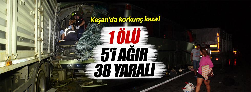 Makedon turistleri taşıyan otobüs tıra çarptı: 1 ölü, 38 yaralı