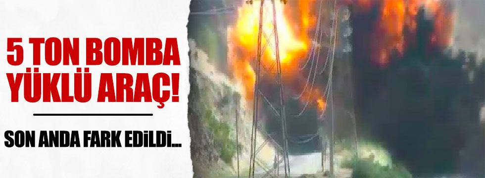 5 ton bomba yüklü araç ele geçirildi