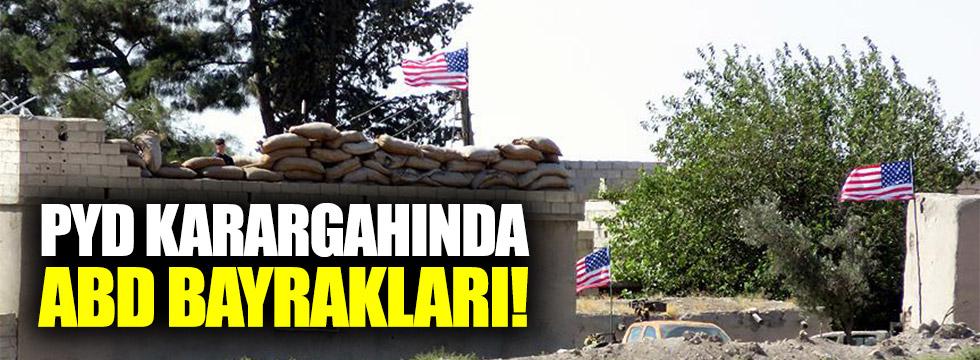 PYD karargahında ABD bayrakları