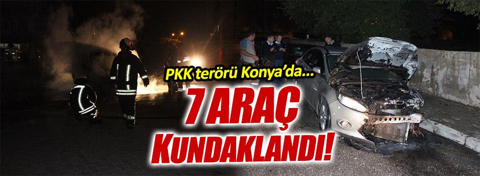 PKK'lılar Konya'da araçları kundakladı