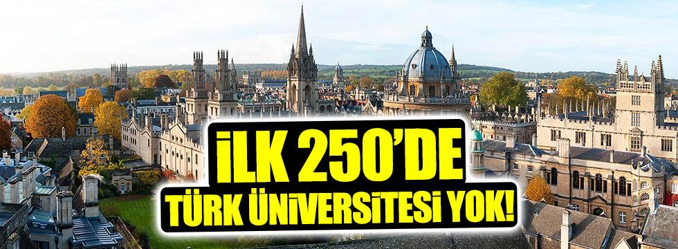 En iyi 250'deTürk üniversitesi yok!