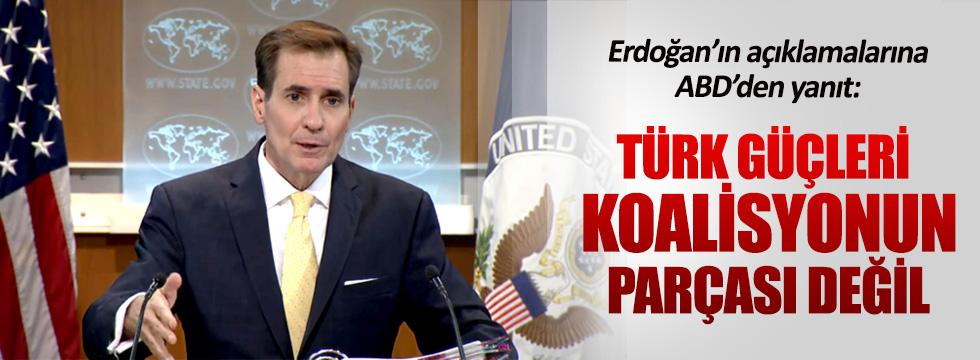 Cumhurbaşkanı Erdoğan'ın açıklamalarına ABD'den yanıt