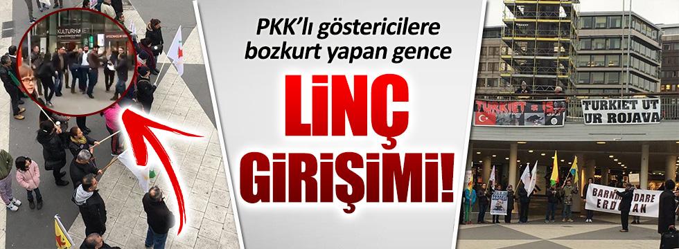 Bozkurt yapan Türk gencine linç girişimi