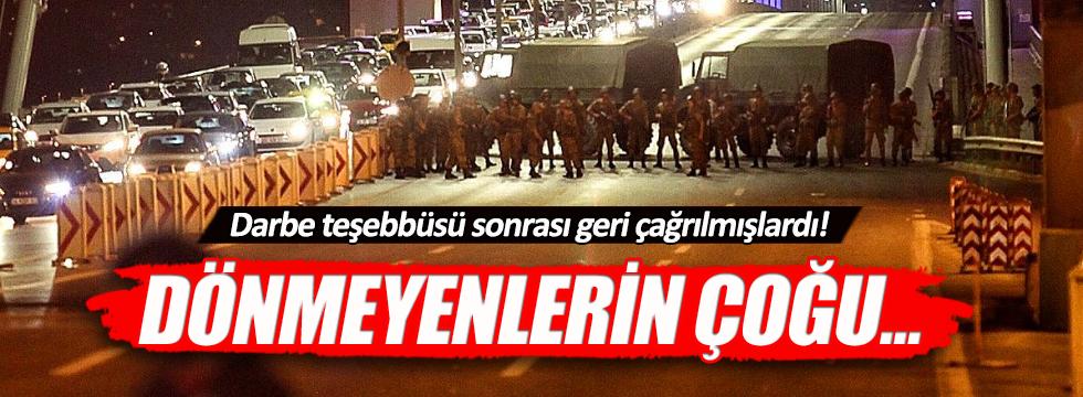 Darbe teşebbüsü sonrası Türkiye'ye dönmeyenlerin çoğu askeri personel