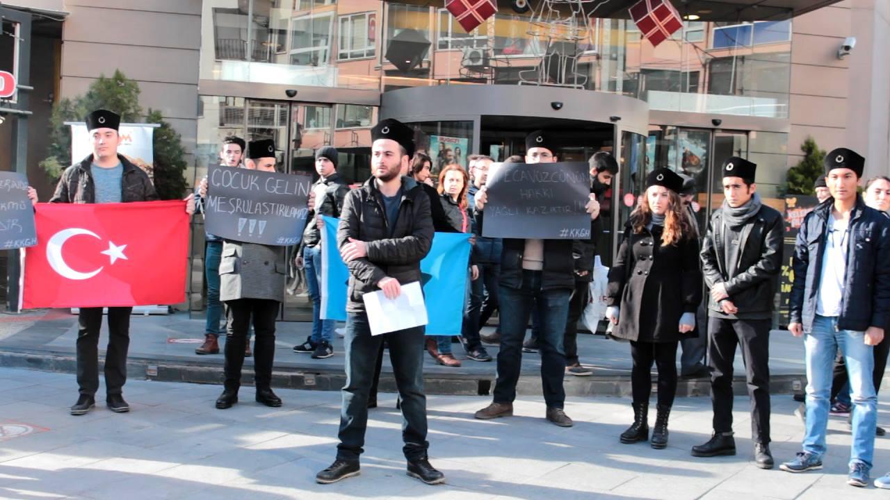 Kara Kalpaklılar Gençlik Hareketi, çocuk istismarını protesto etti