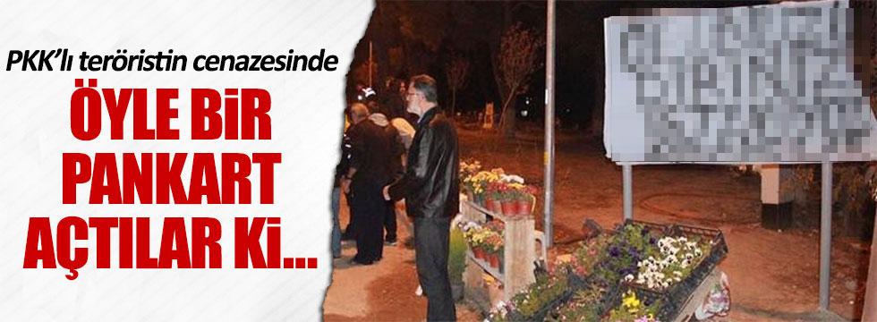 İzmir Torbalı'da PKK'lı cenazesine pankartlı tepki