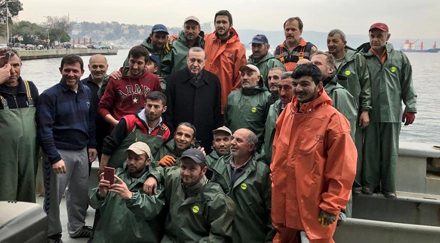 Erdoğan balıkçılarla ava çıktı