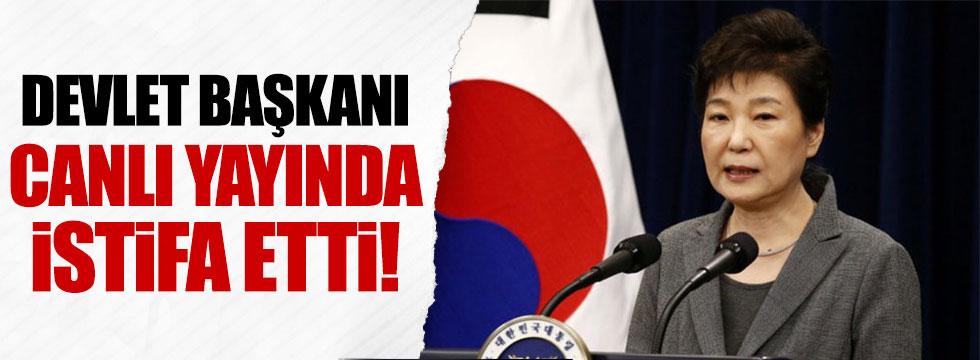 Güney Kore Devlet Başkanı Park Geun-hye canlı yayında istifa etti