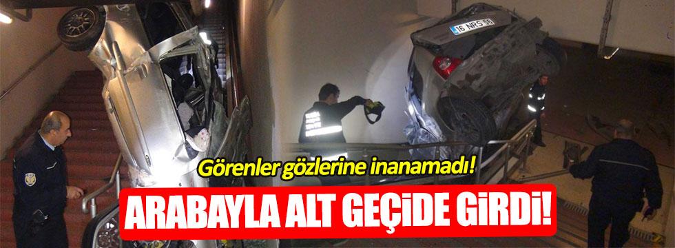 Trafik canavarı Bursa'da metro alt geçidine girdi