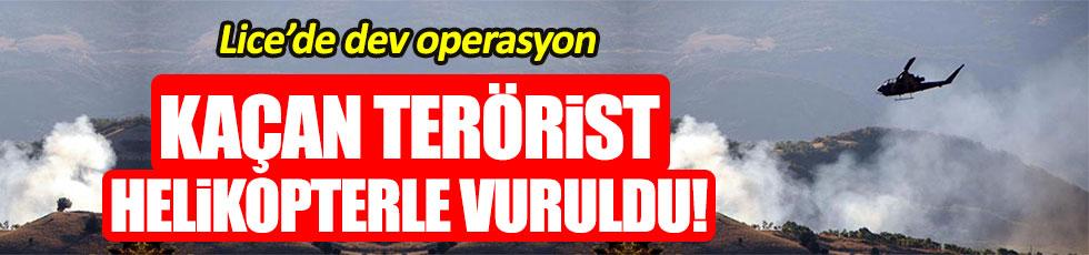 PKK'lı teröristler Lice'de helikopterle vuruldu