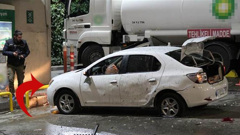 Benzinlikteki araca patlayıcı attılar