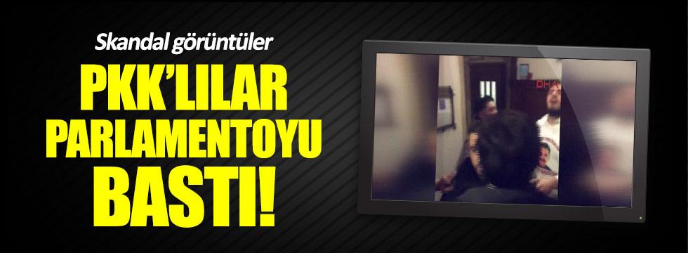 PKK'lılar Öcalan tişörtleriyle parlamentoyu bastı