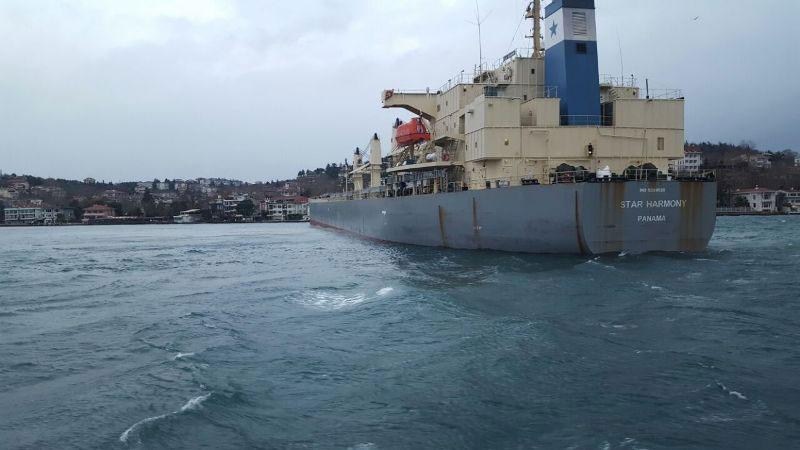 Yeniköy'de gemi karaya oturdu!