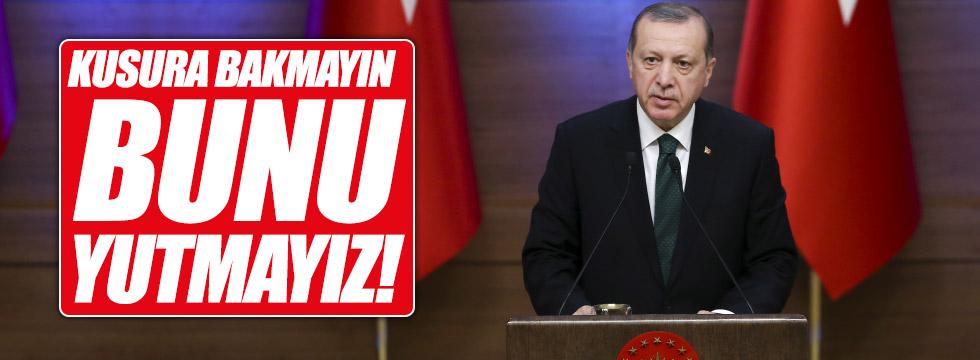 """Erdoğan'dan ABD'ye sert yanıt, """"yutmayız"""""""