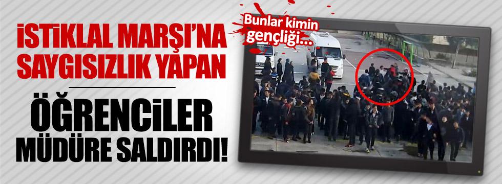 İstiklal Marşı'na saygısızlık yapan öğrenciler müdüre saldırdı!