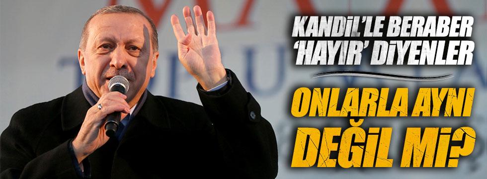 Erdoğan: Kandil'le beraber 'hayır' diyenler onlarla aynı değil mi?