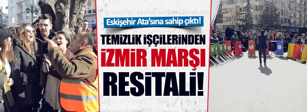 Eskişehir'de Temizlik işçilerinden İzmir Marşı resitali