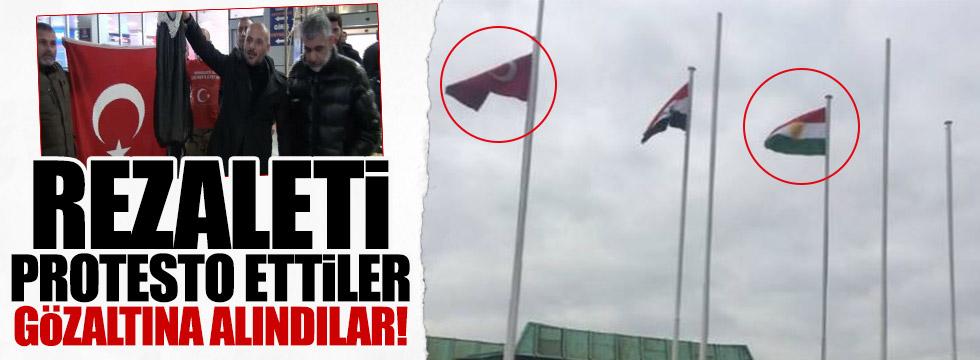 Kürdistan paçavrasını protesto ettiler gözaltına alındılar