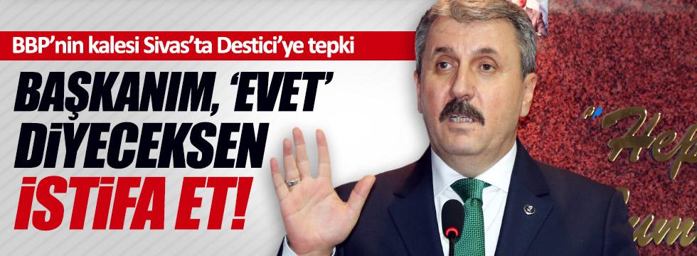Sivas'ta Destici'ye referandum protestosu