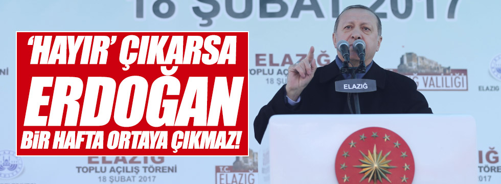 """""""Hayır çıkarsa Erdoğan bir hafta ortaya çıkmaz"""""""