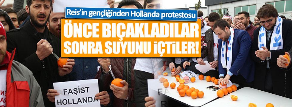 """""""Reis'in Gençliği"""", Hollanda'yı portakal bıçaklayıp içerek protesto etti"""