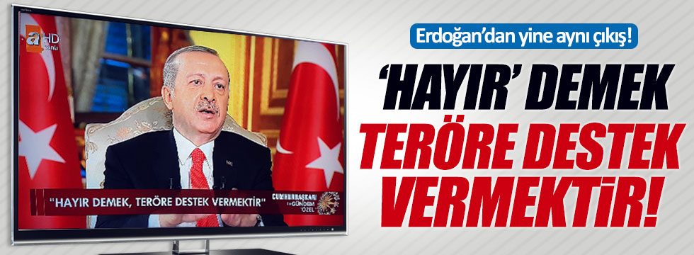 Erdoğan: 'Hayır' demek teröre destek vermektir