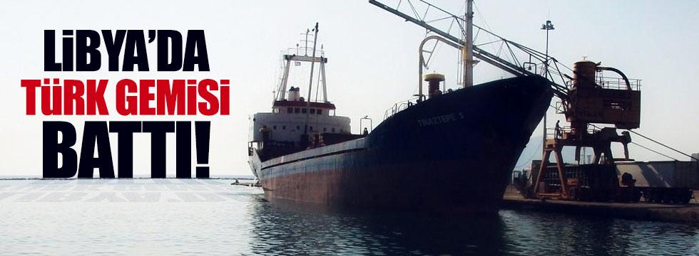 Libya'da, Türk gemisi battı