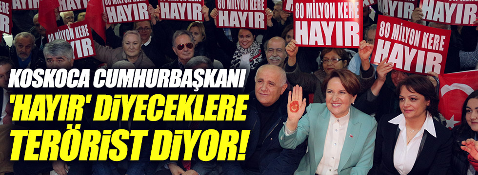 Akşener: Koskoca Cumhurbaşkanı 'Hayır' diyeceklere terörist diyor!