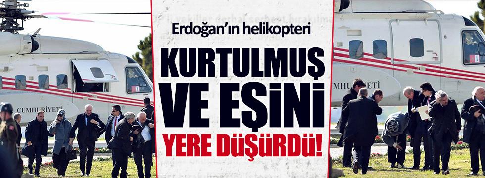Erdoğan'ın helikopter'i Bakanları yere düşürdü