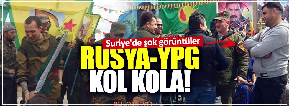 Rus askeri YPG'lilerle birlikte poz verdi