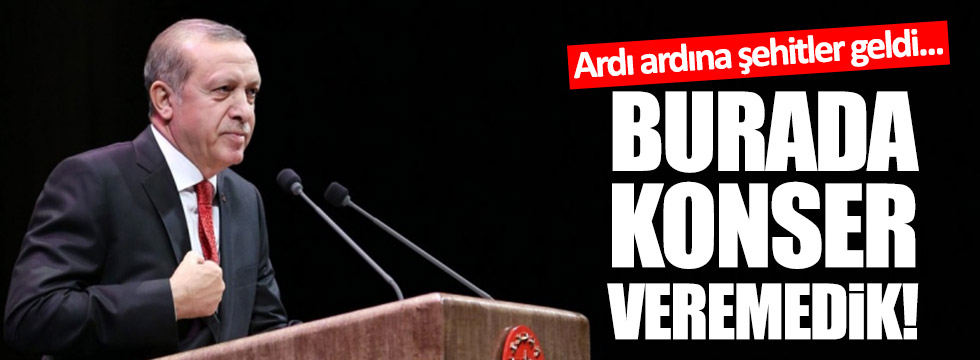 """Erdoğan: """"Ardı ardına şehitler geldi, konser veremedik!"""""""