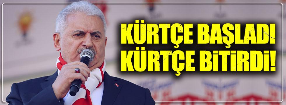 Ülkücülerden umudunu yitiren Başbakan Yıldırım, mitingte Kürtçe konuştu