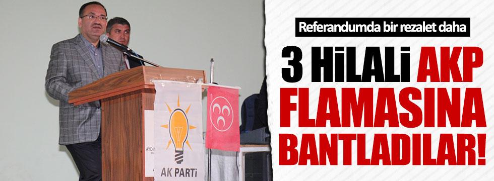 MHP Bayrağı, AKP flamasına bantla tutturuldu