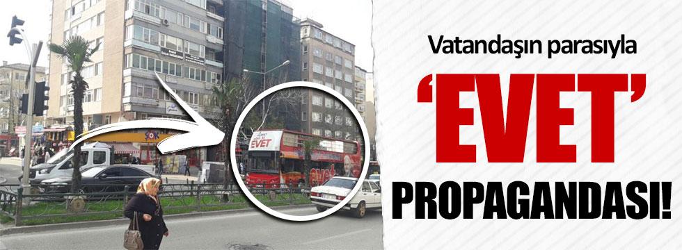 Bursa Osmangazi'de Belediye aracı ile 'evet' propagandası