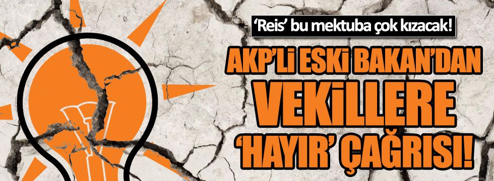 AKP'li eski Bakandan vekillere 'hayır' çağrısı