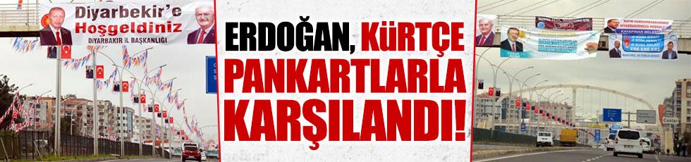 Erdoğan Diyarbakır'da Kürtçe pankartlarla karşılandı