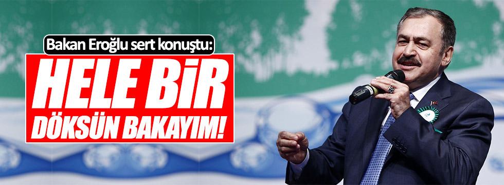 """Bakan Eroğlu: """"Hele bir döksün bakayım!"""""""
