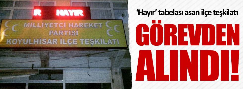 'Hayır' diyen MHP Sivas Koyulhisar teşkilatı görevden alındı