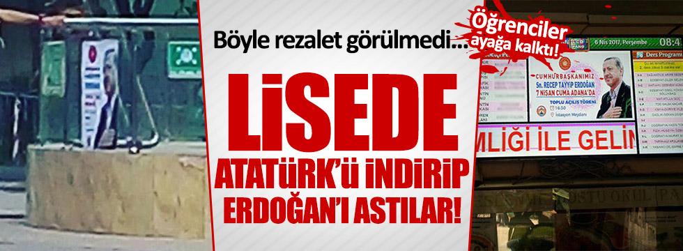 Atatürk'ü indirip, Erdoğan'ı astılar!