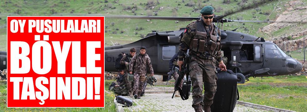 Oy pusulaları askeri helikopterle taşındı!